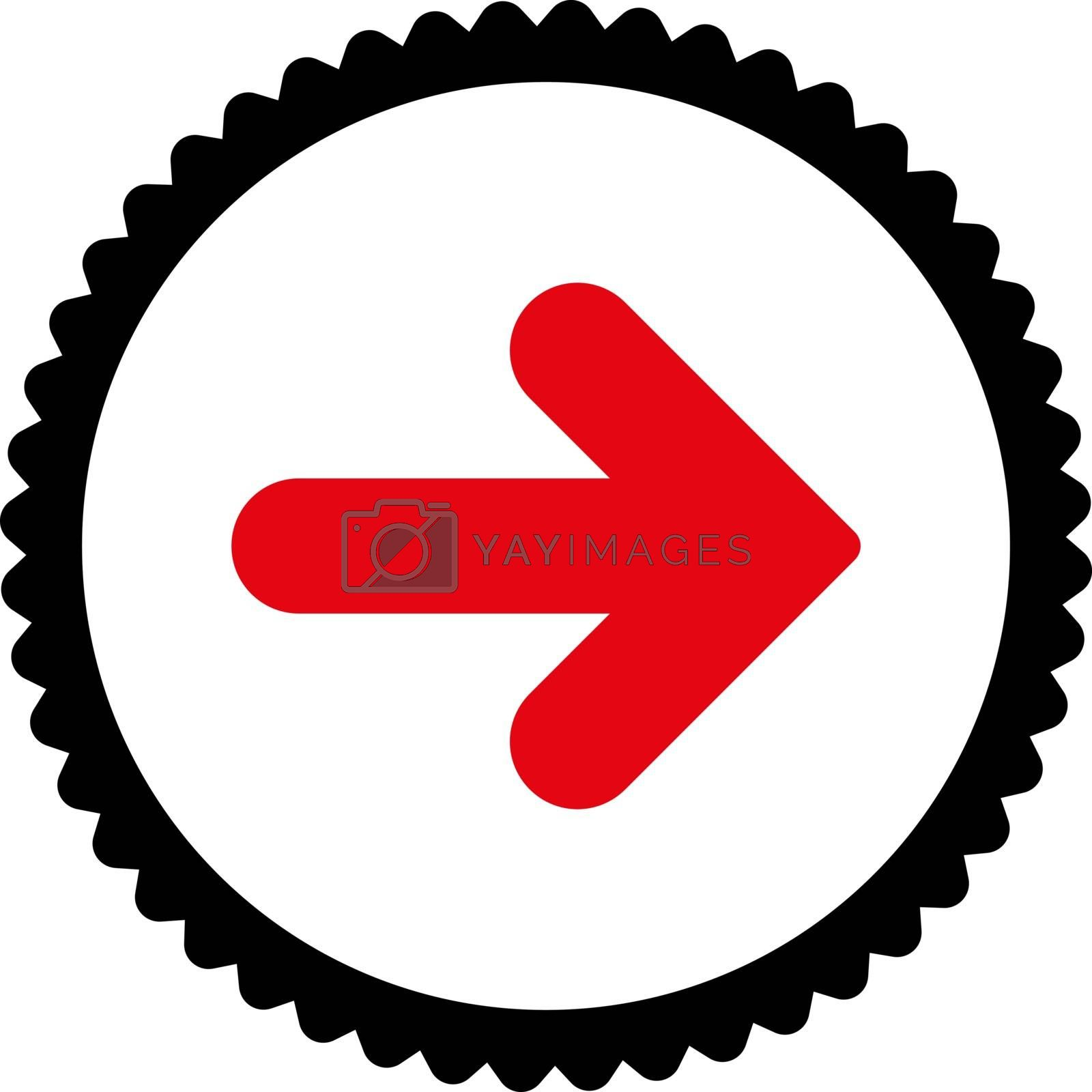 Arrow Right flat intensive red and black colors round stamp icon by Aha-Soft