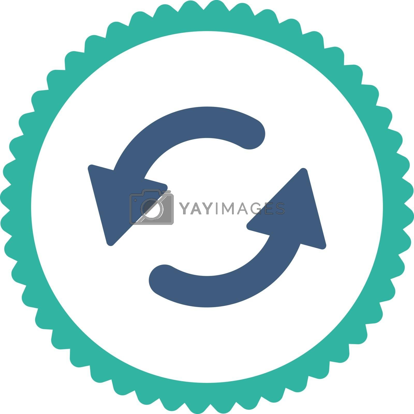 Refresh Ccw flat cobalt and cyan colors round stamp icon by Aha-Soft