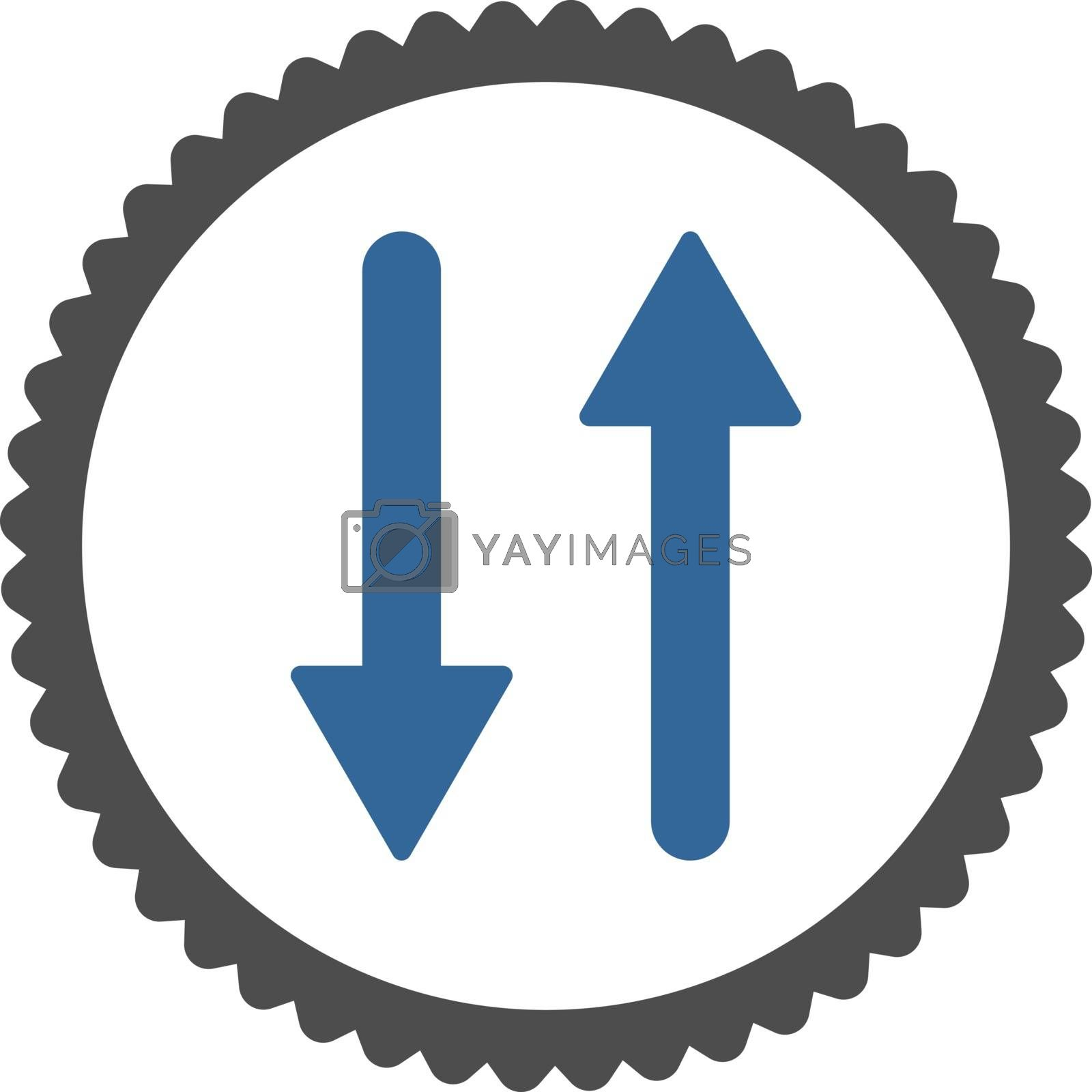 Arrows Exchange Vertical flat cobalt and gray colors round stamp icon by Aha-Soft