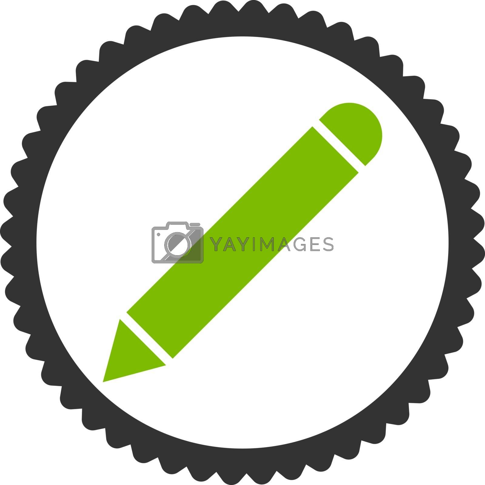 Pencil flat eco green and gray colors round stamp icon by Aha-Soft