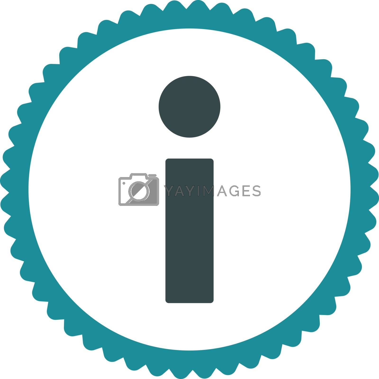 Info flat soft blue colors round stamp icon by Aha-Soft