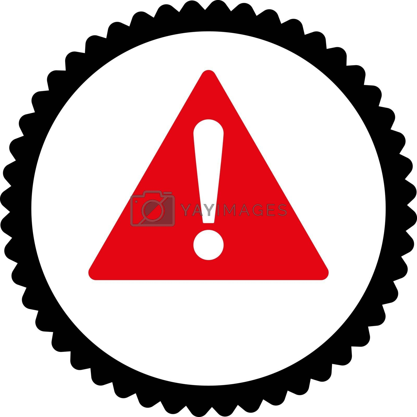 Warning flat intensive red and black colors round stamp icon by Aha-Soft