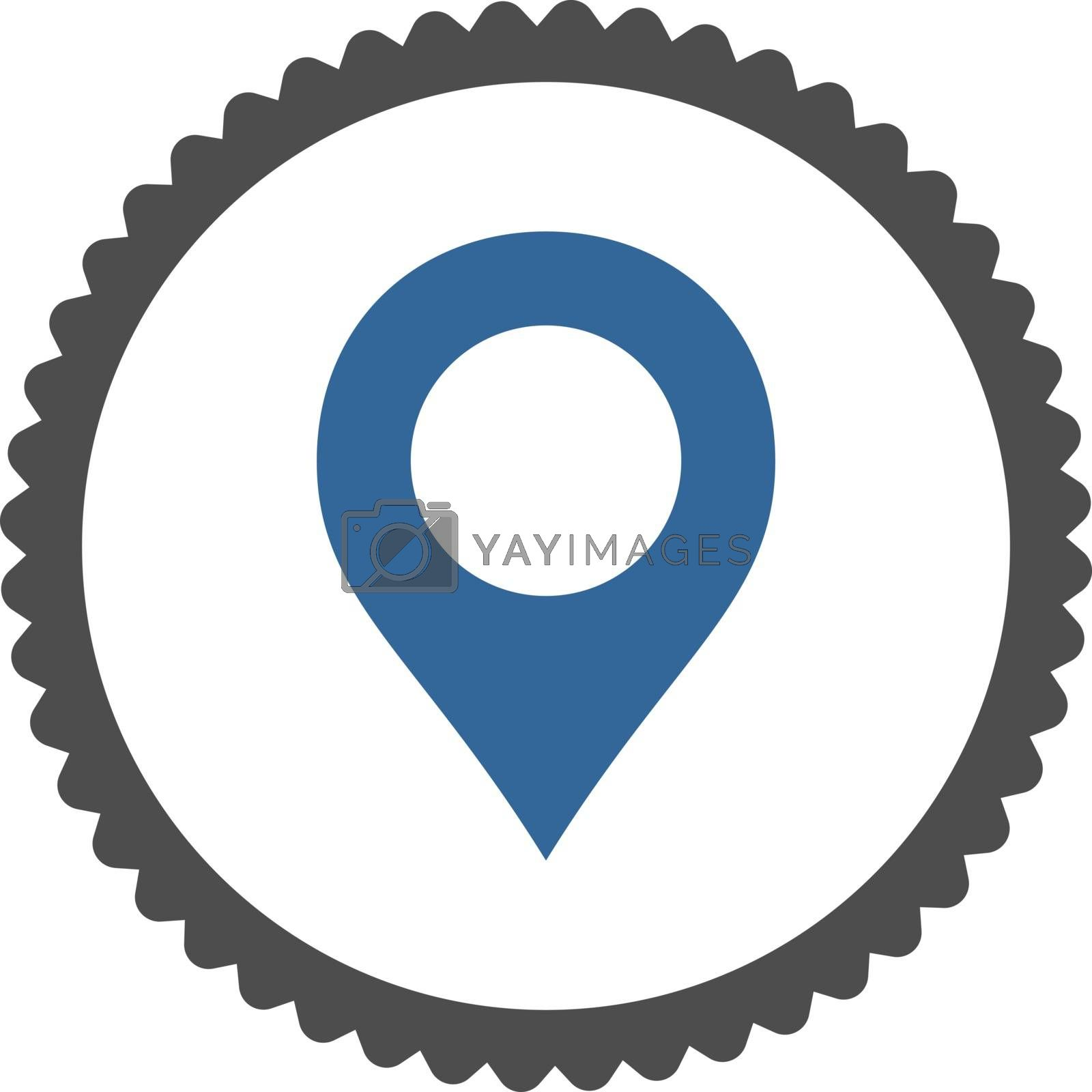 Map Marker flat cobalt and gray colors round stamp icon by Aha-Soft