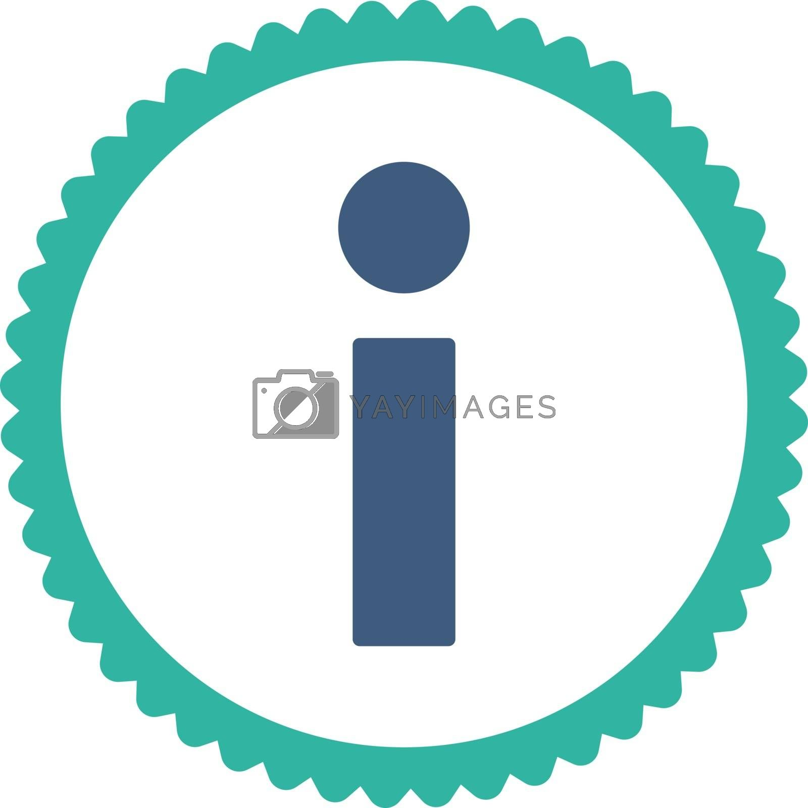 Info flat cobalt and cyan colors round stamp icon by Aha-Soft