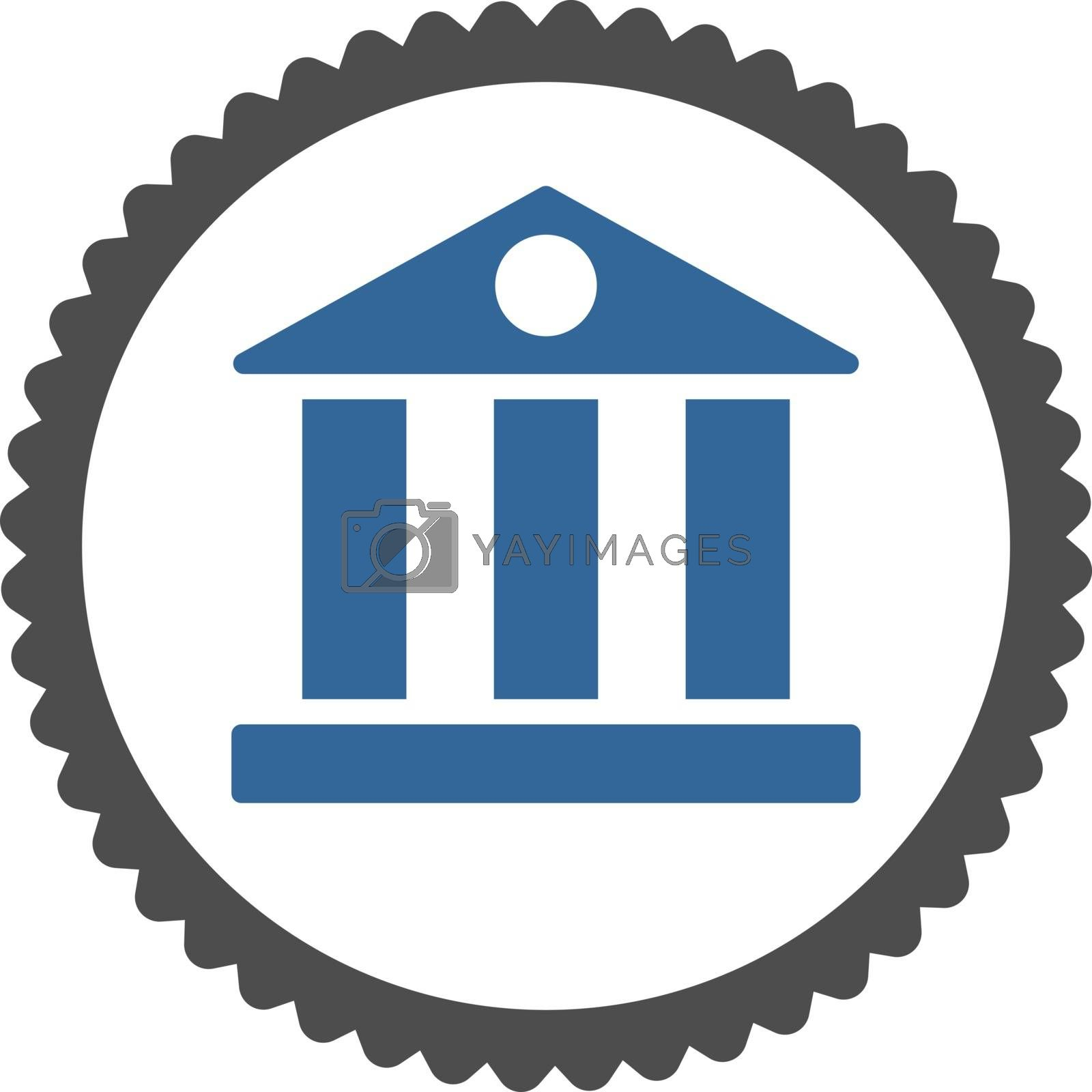 Bank flat cobalt and gray colors round stamp icon by Aha-Soft