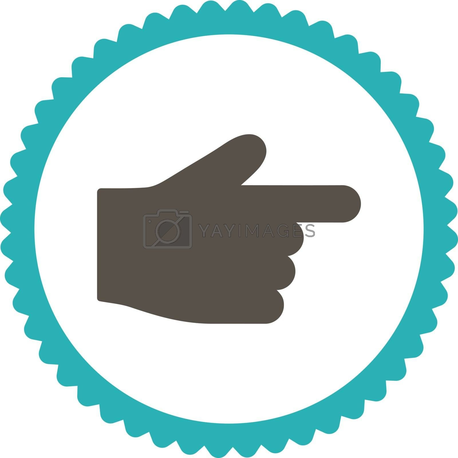 Index Finger flat grey and cyan colors round stamp icon by Aha-Soft