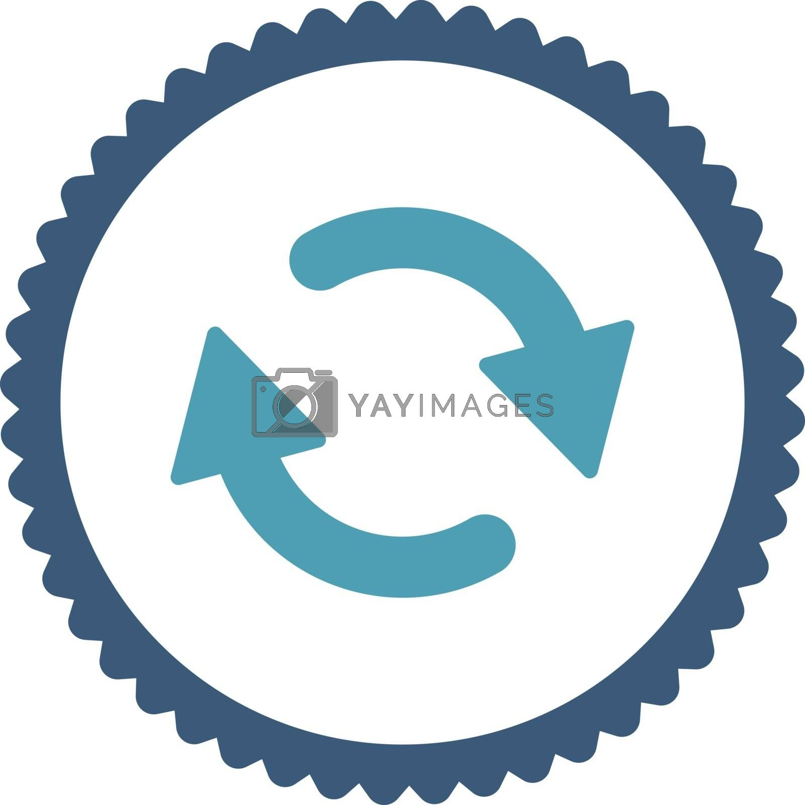 Refresh flat cyan and blue colors round stamp icon by Aha-Soft