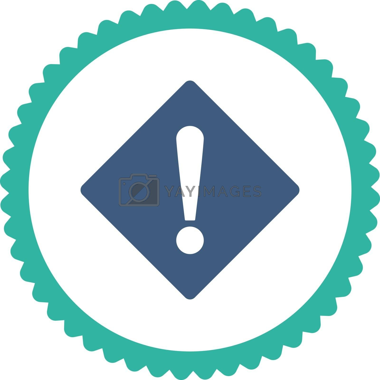 Error flat cobalt and cyan colors round stamp icon by Aha-Soft