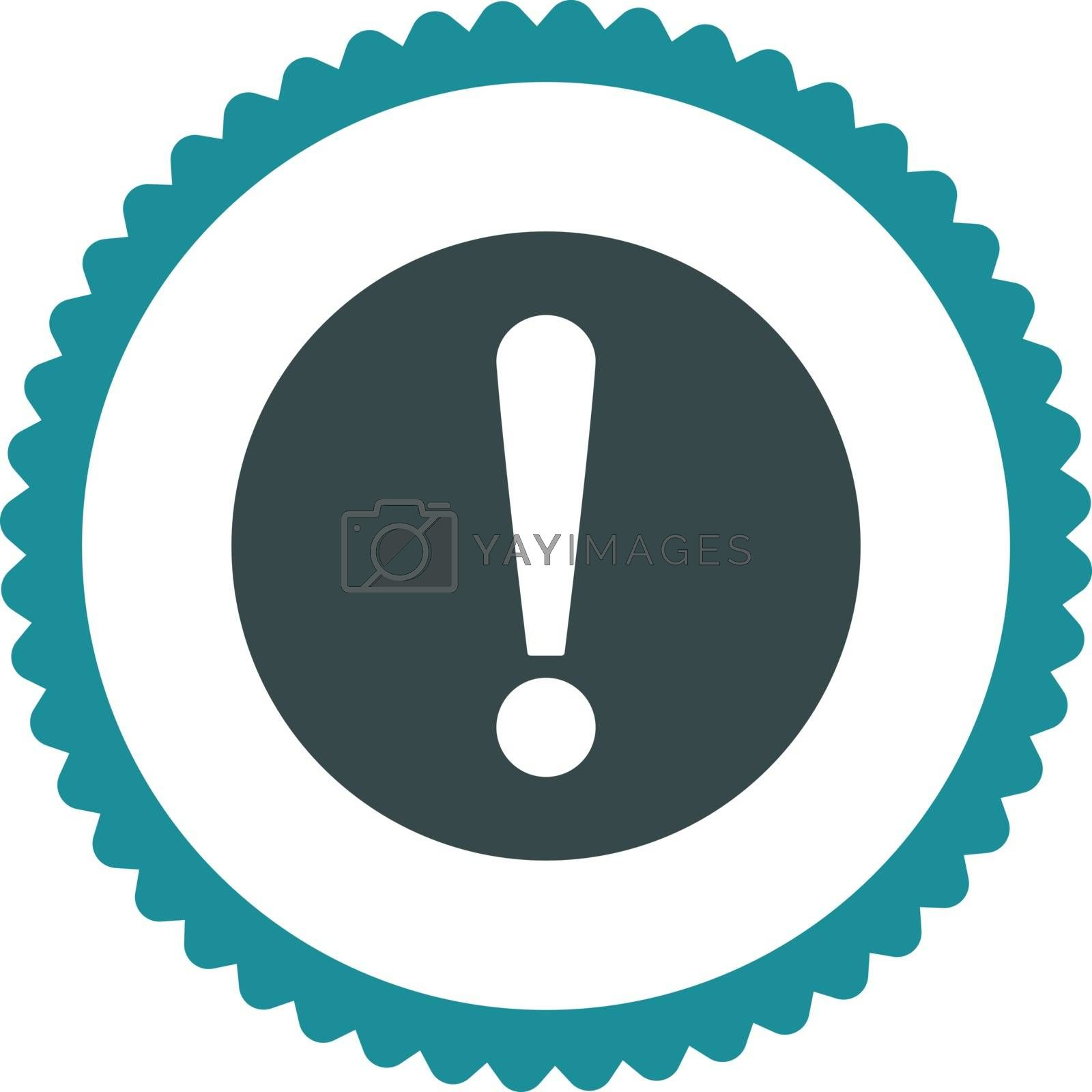 Problem flat soft blue colors round stamp icon by Aha-Soft