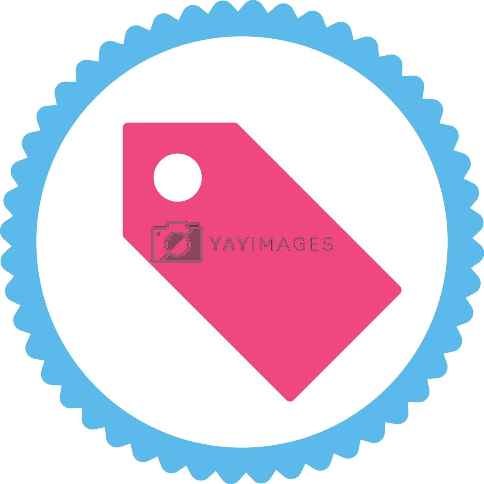 Tag flat pink and blue colors round stamp icon by Aha-Soft