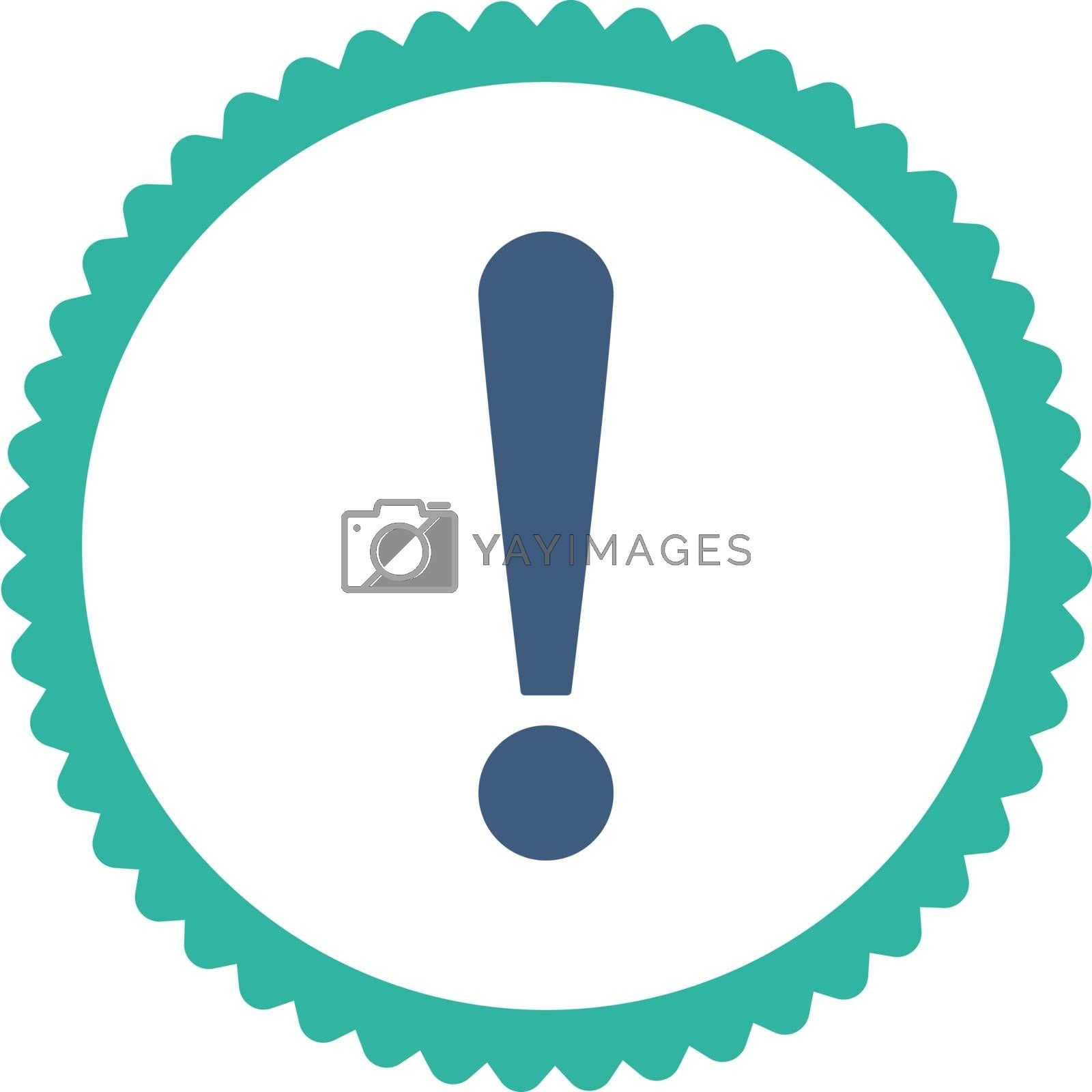 Exclamation Sign flat cobalt and cyan colors round stamp icon by Aha-Soft