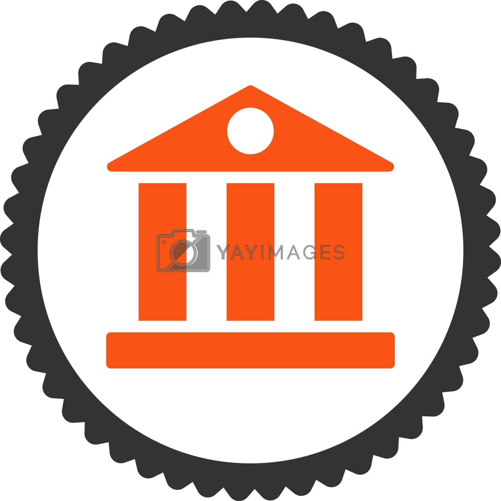 Bank flat orange and gray colors round stamp icon by Aha-Soft