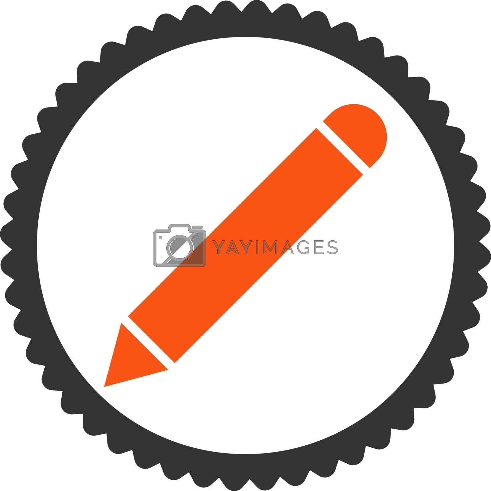 Pencil flat orange and gray colors round stamp icon by Aha-Soft