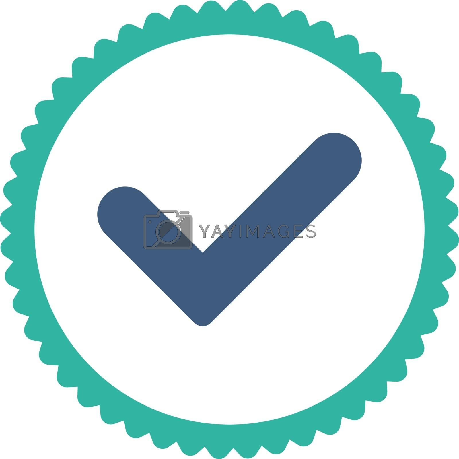 Yes flat cobalt and cyan colors round stamp icon by Aha-Soft