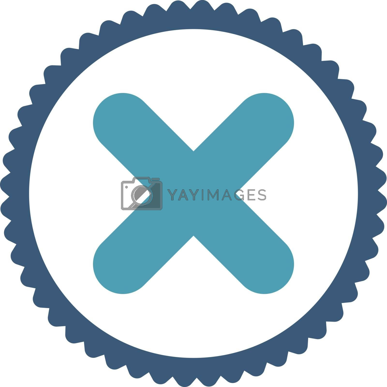 Cancel flat cyan and blue colors round stamp icon by Aha-Soft