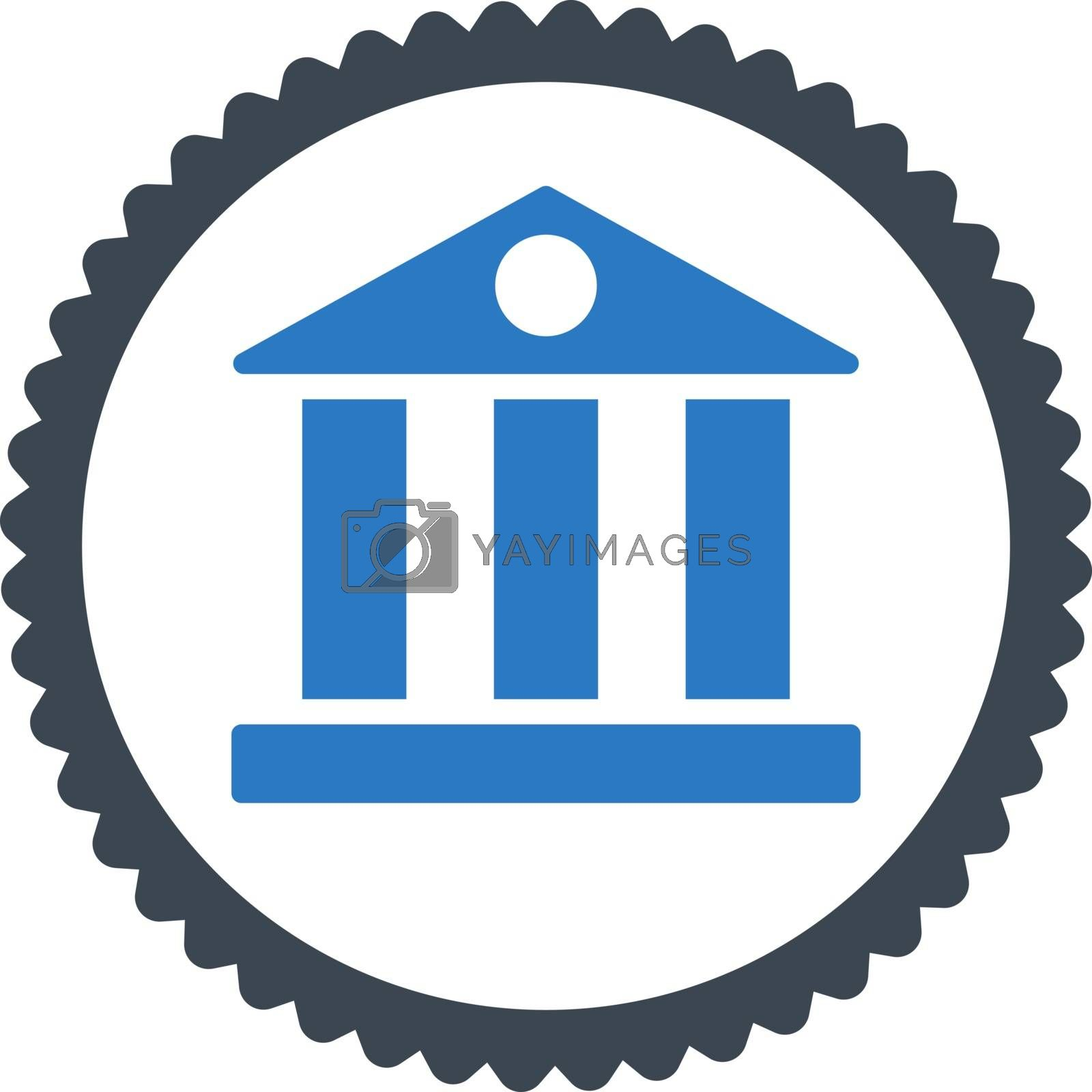 Bank flat smooth blue colors round stamp icon by Aha-Soft