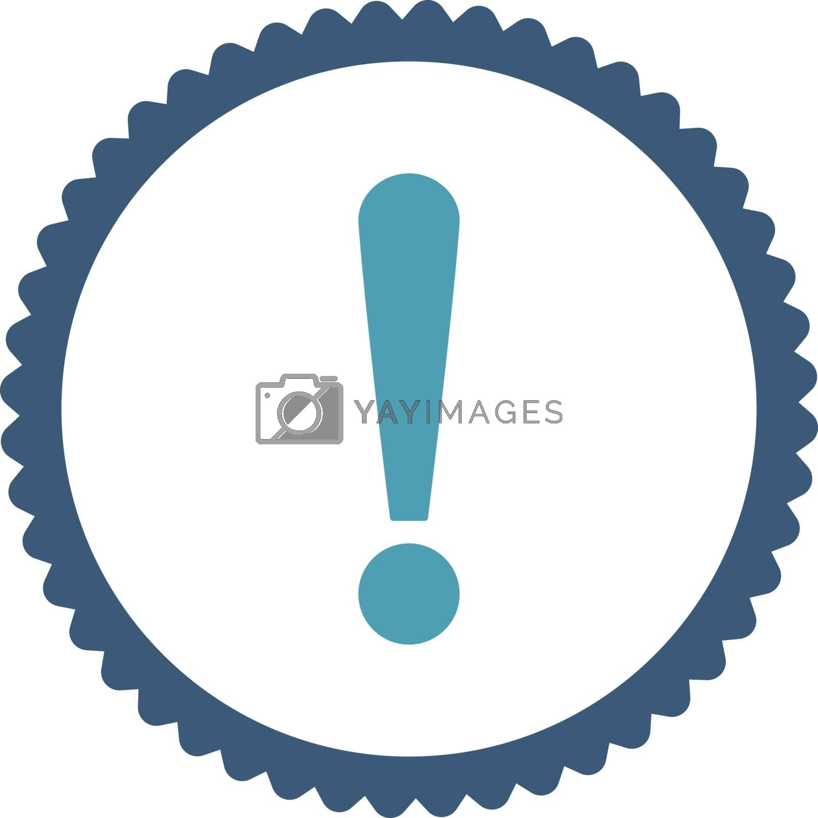 Exclamation Sign flat cyan and blue colors round stamp icon by Aha-Soft