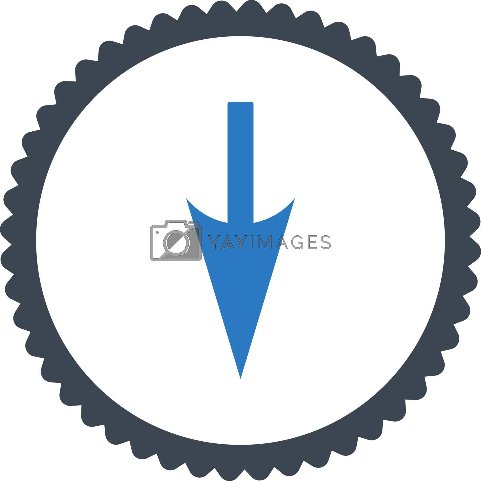 Sharp Down Arrow flat smooth blue colors round stamp icon by Aha-Soft