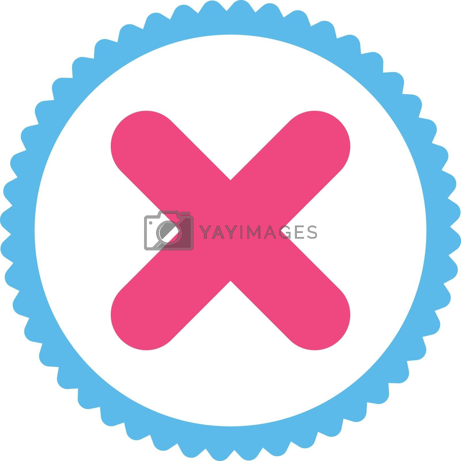 Cancel flat pink and blue colors round stamp icon by Aha-Soft