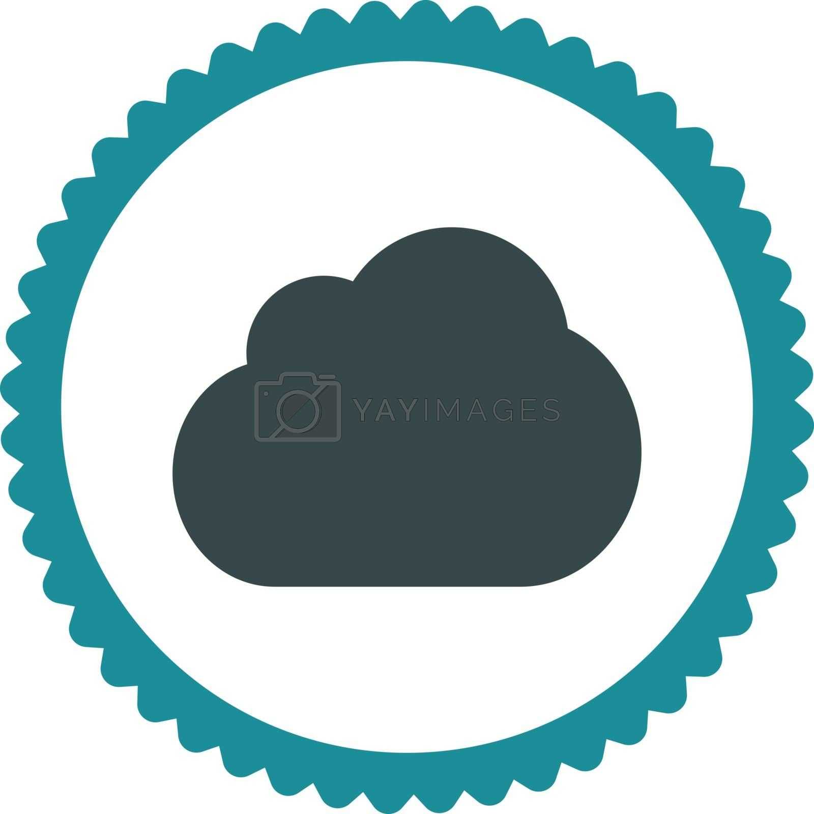 Cloud flat soft blue colors round stamp icon by Aha-Soft