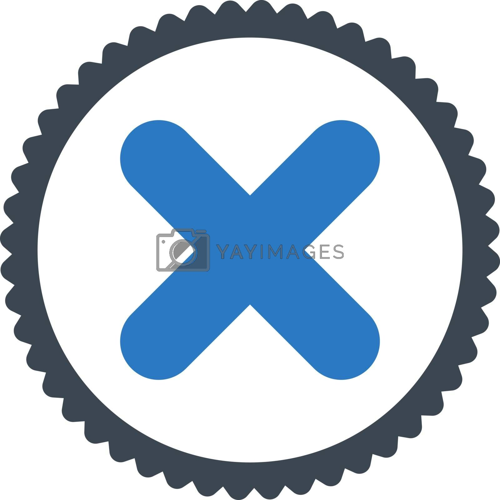 Cancel flat smooth blue colors round stamp icon by Aha-Soft