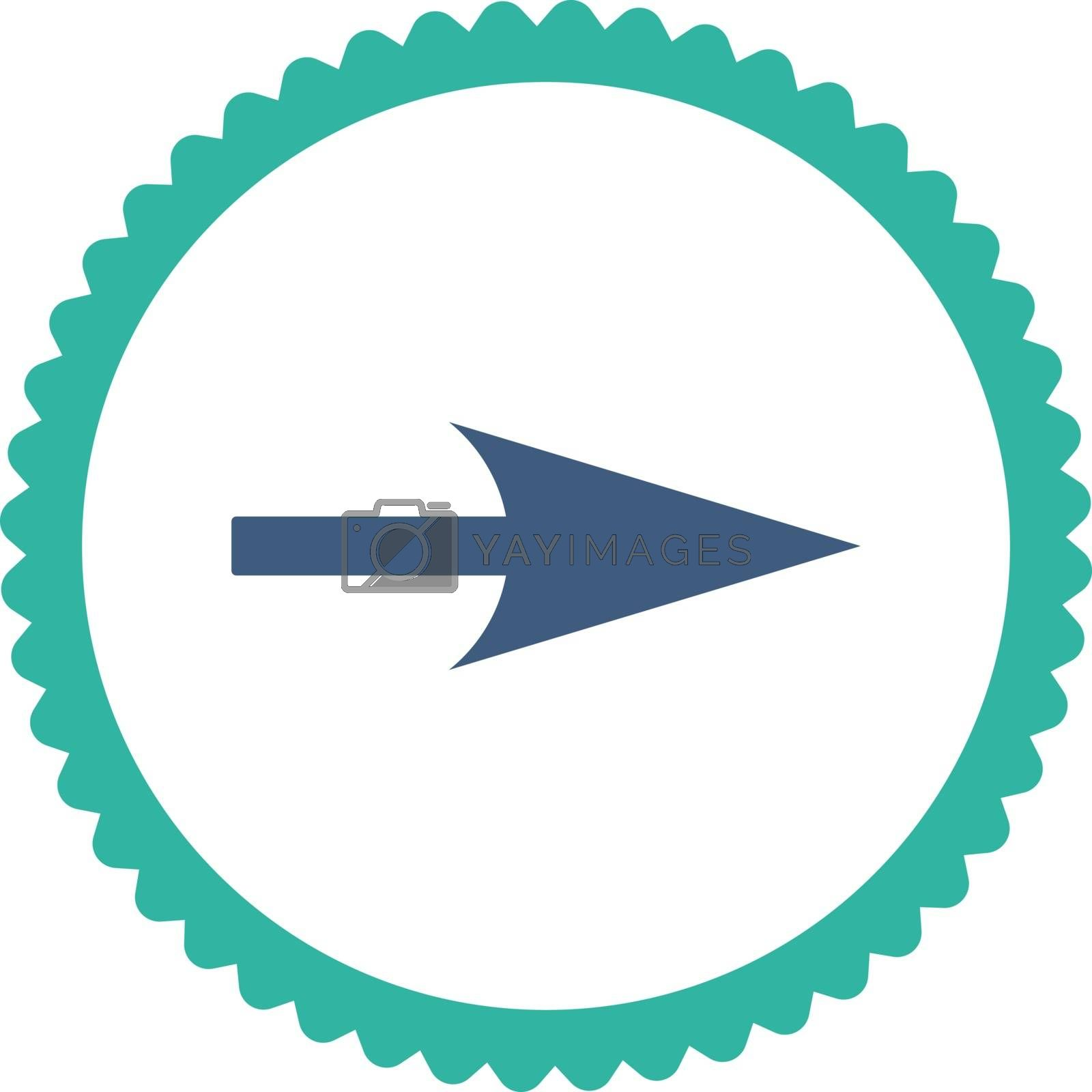 Arrow Axis X flat cobalt and cyan colors round stamp icon by Aha-Soft