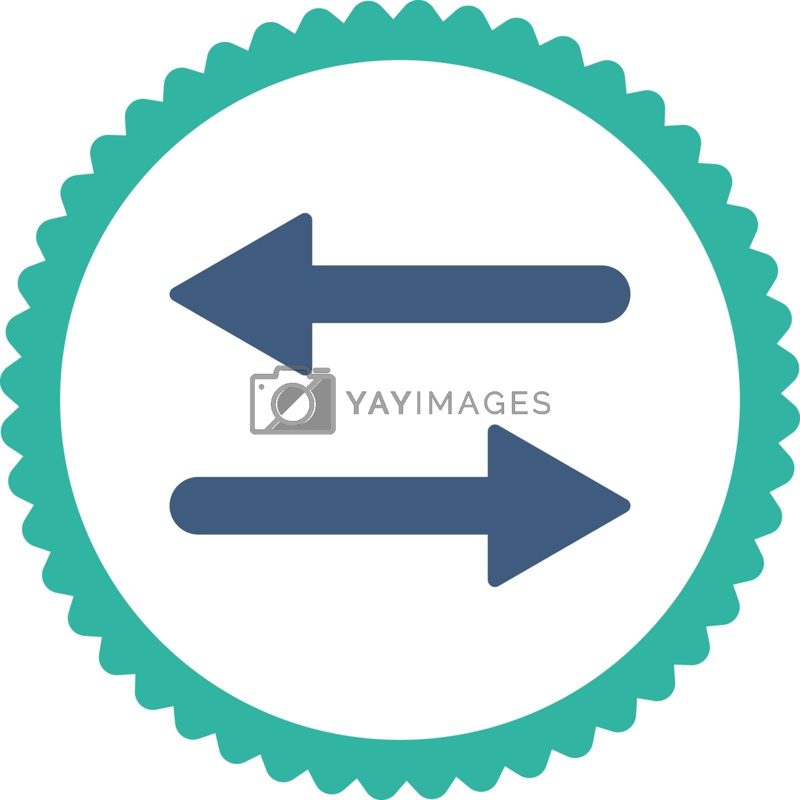 Arrows Exchange flat cobalt and cyan colors round stamp icon by Aha-Soft