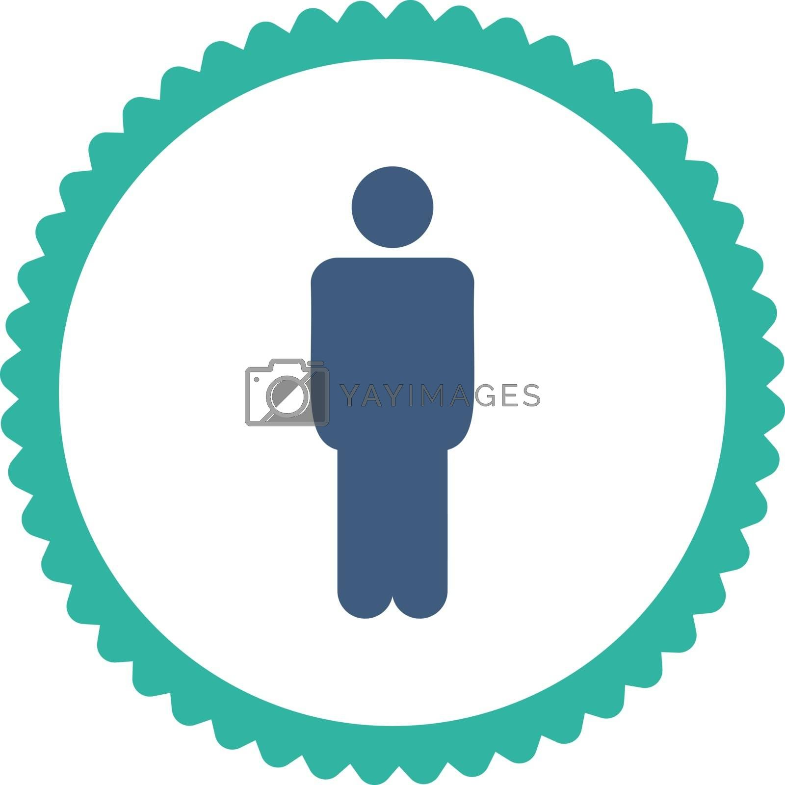 Man flat cobalt and cyan colors round stamp icon by Aha-Soft