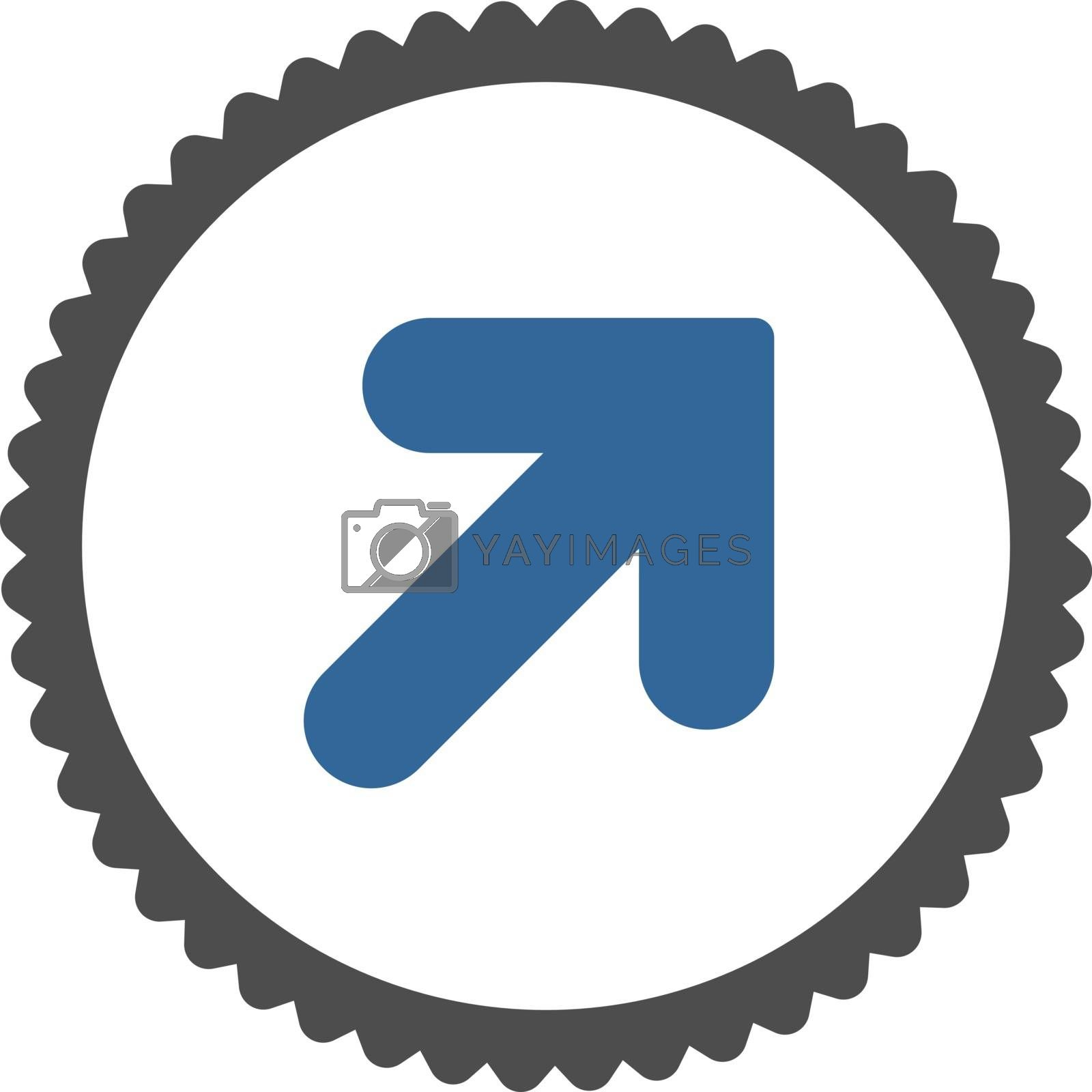 Arrow Up Right flat cobalt and gray colors round stamp icon by Aha-Soft