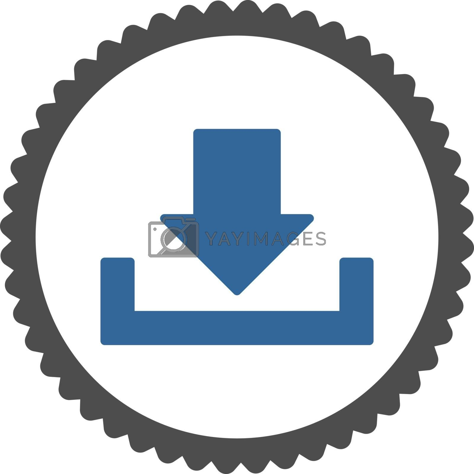 Download flat cobalt and gray colors round stamp icon by Aha-Soft