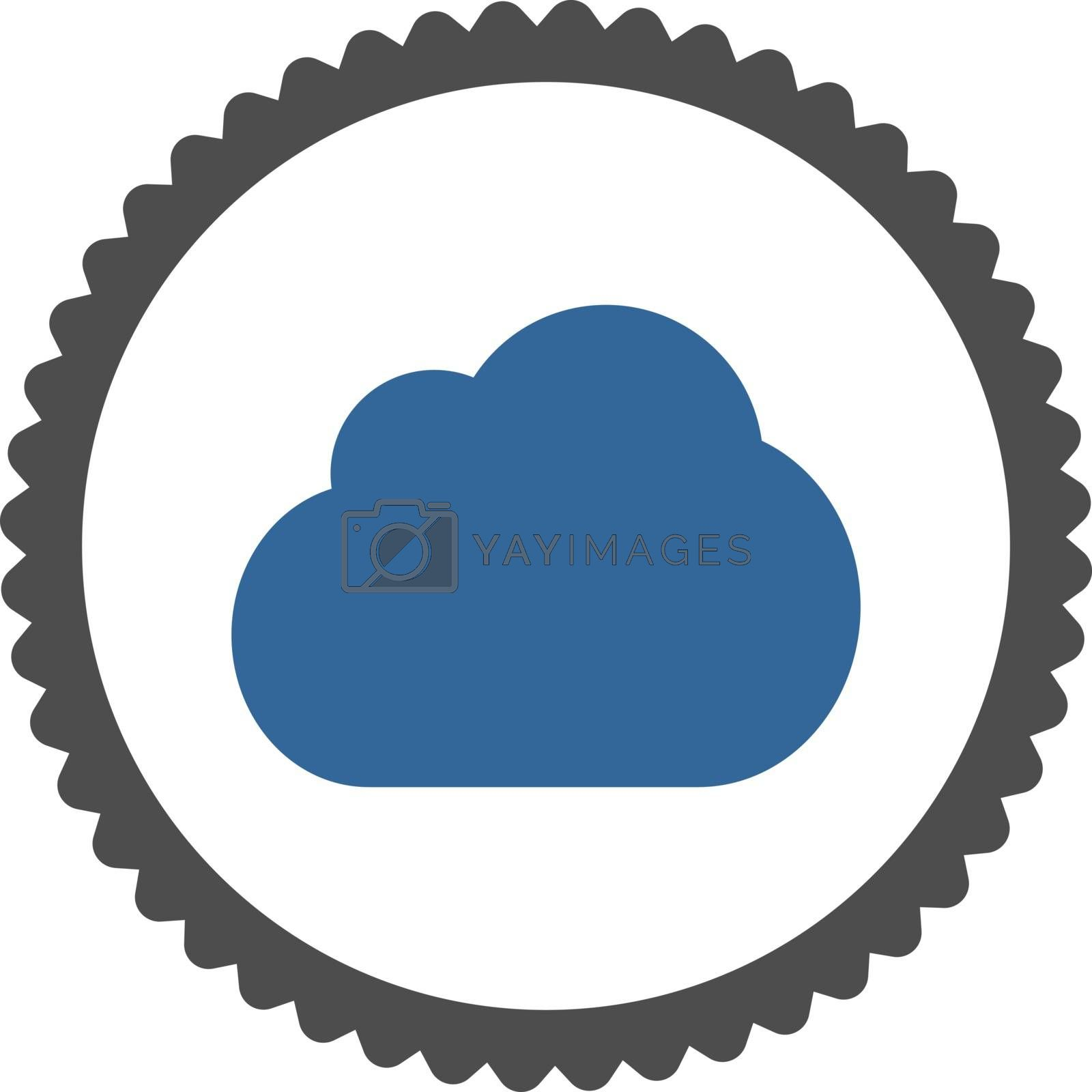 Cloud flat cobalt and gray colors round stamp icon by Aha-Soft
