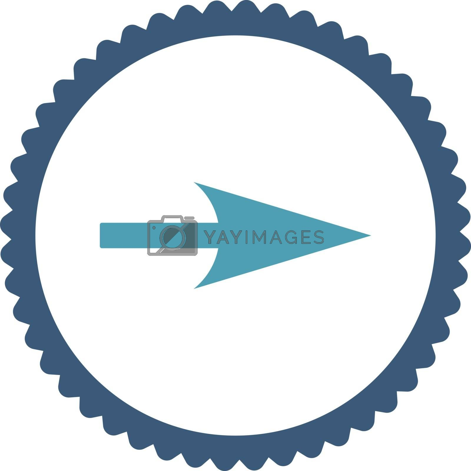 Arrow Axis X flat cyan and blue colors round stamp icon by Aha-Soft