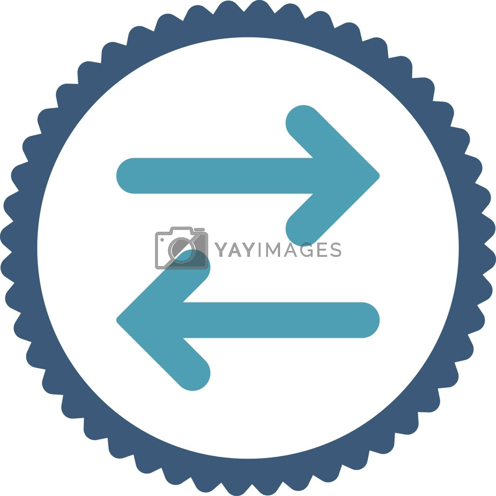 Flip Horizontal flat cyan and blue colors round stamp icon by Aha-Soft