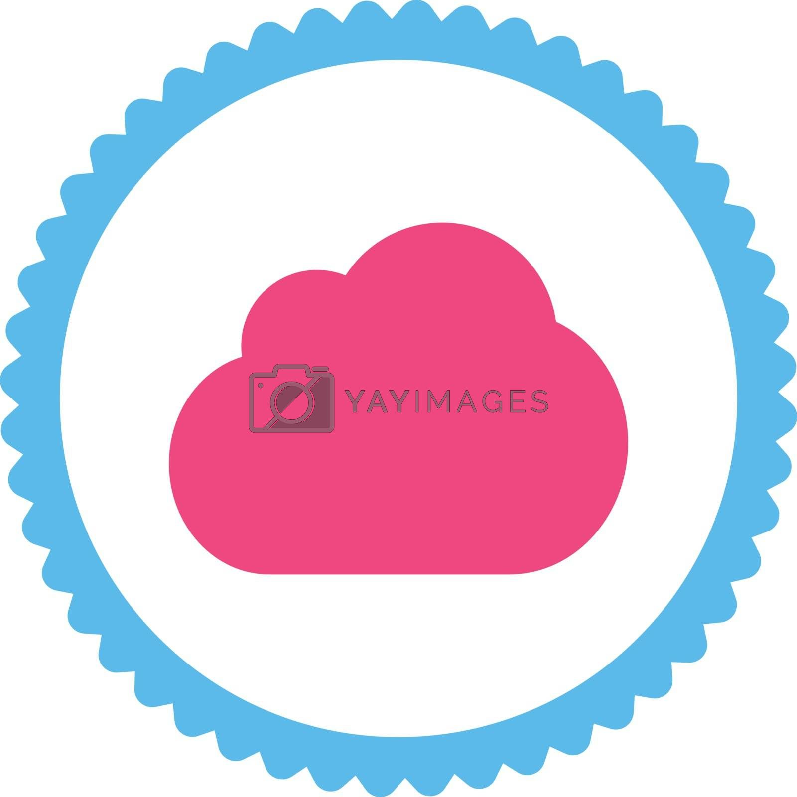 Cloud flat pink and blue colors round stamp icon by Aha-Soft