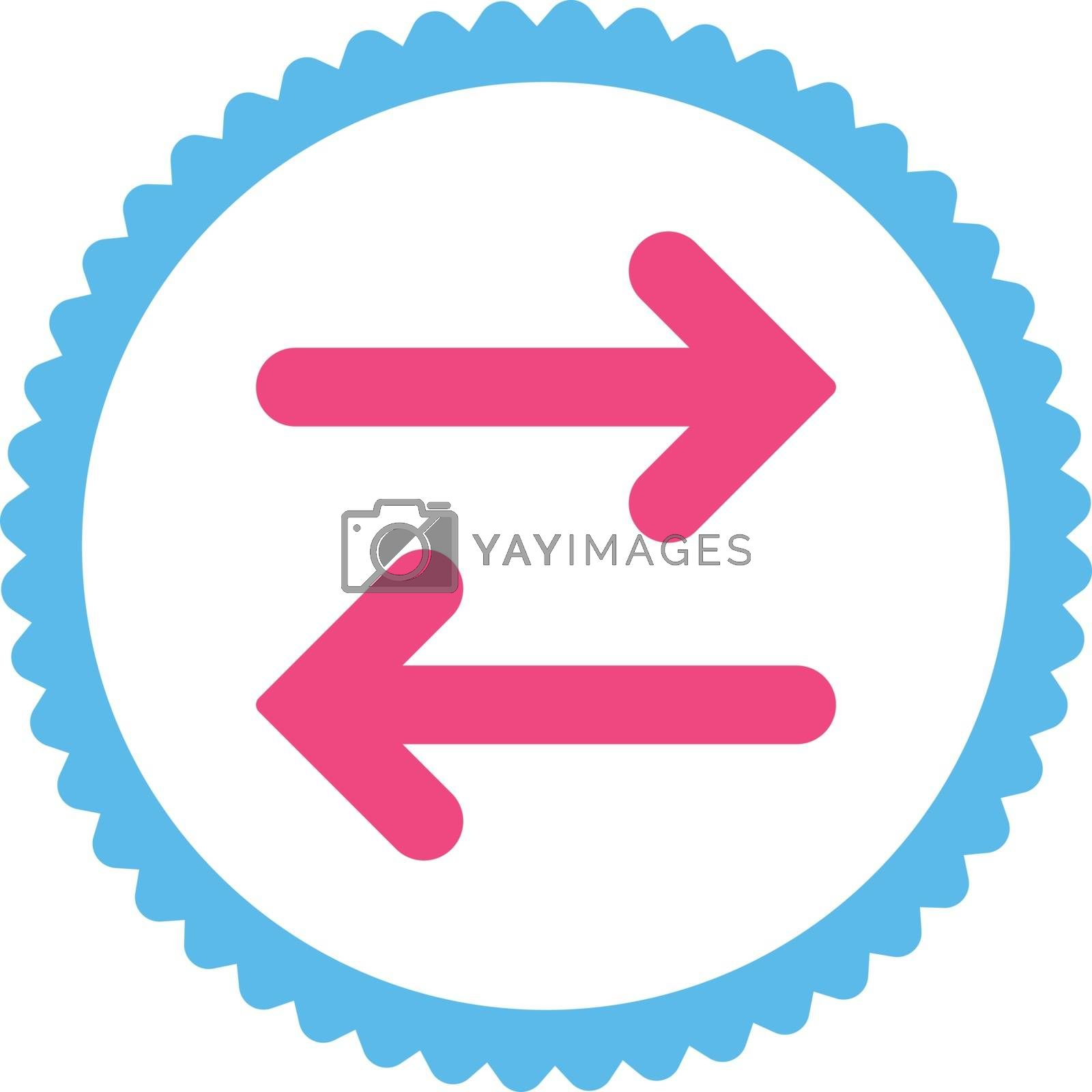 Flip Horizontal flat pink and blue colors round stamp icon by Aha-Soft