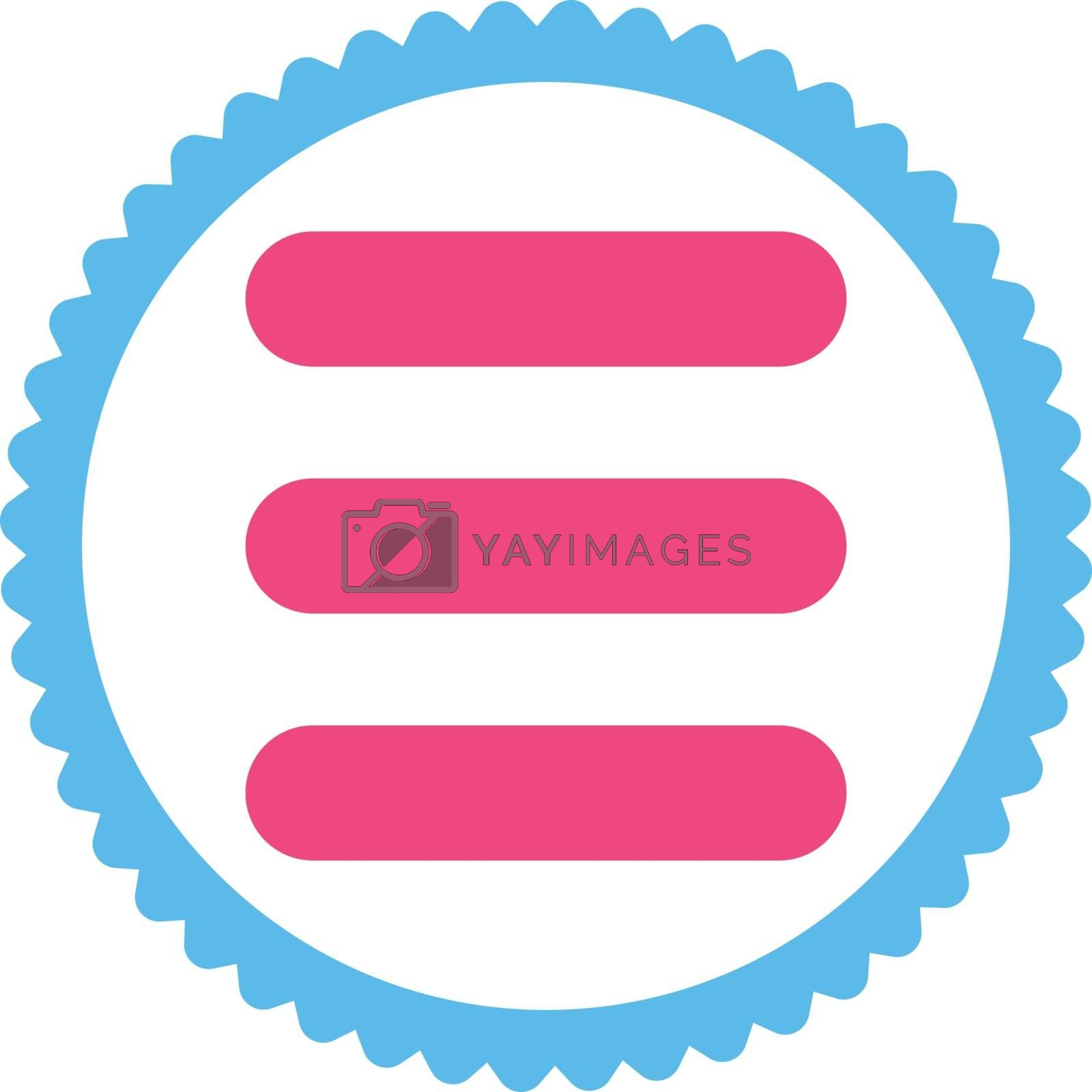 Stack flat pink and blue colors round stamp icon by Aha-Soft