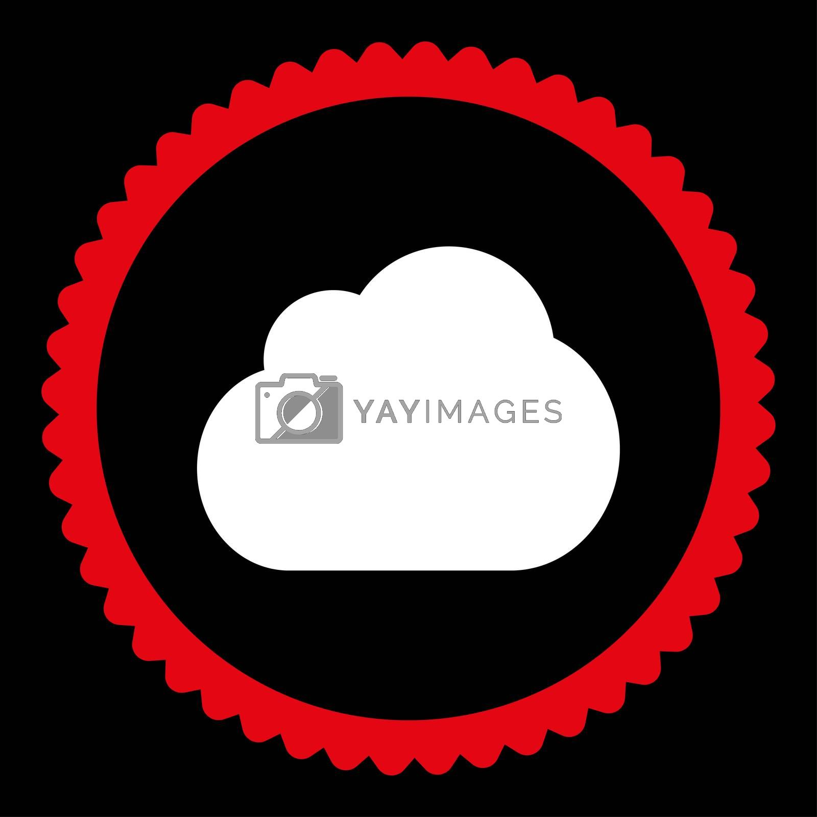Cloud flat red and white colors round stamp icon by Aha-Soft