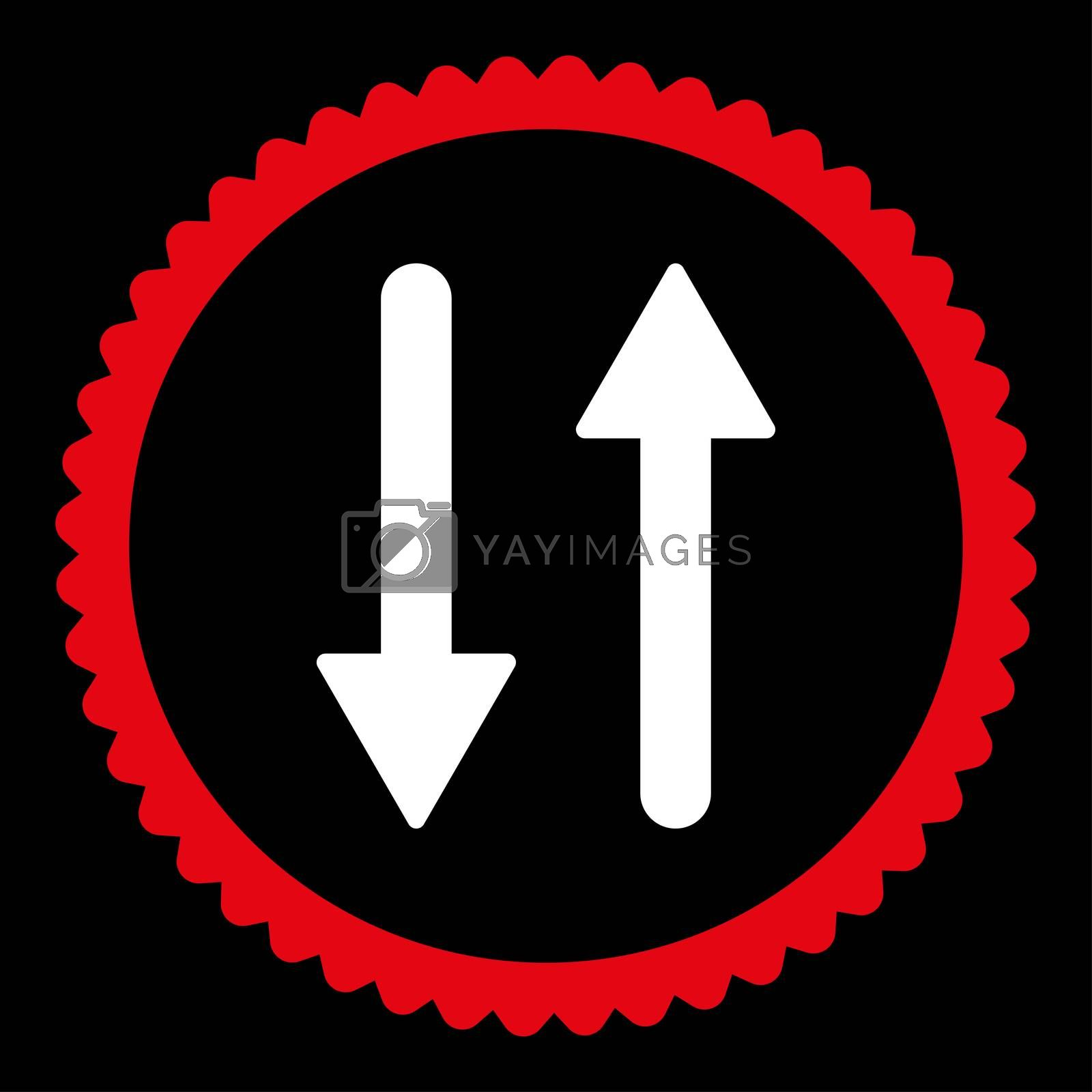 Arrows Exchange Vertical flat red and white colors round stamp icon by Aha-Soft