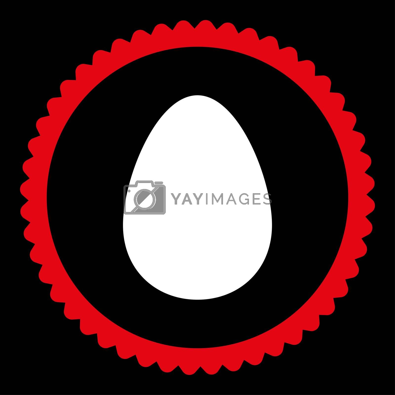 Egg flat red and white colors round stamp icon by Aha-Soft