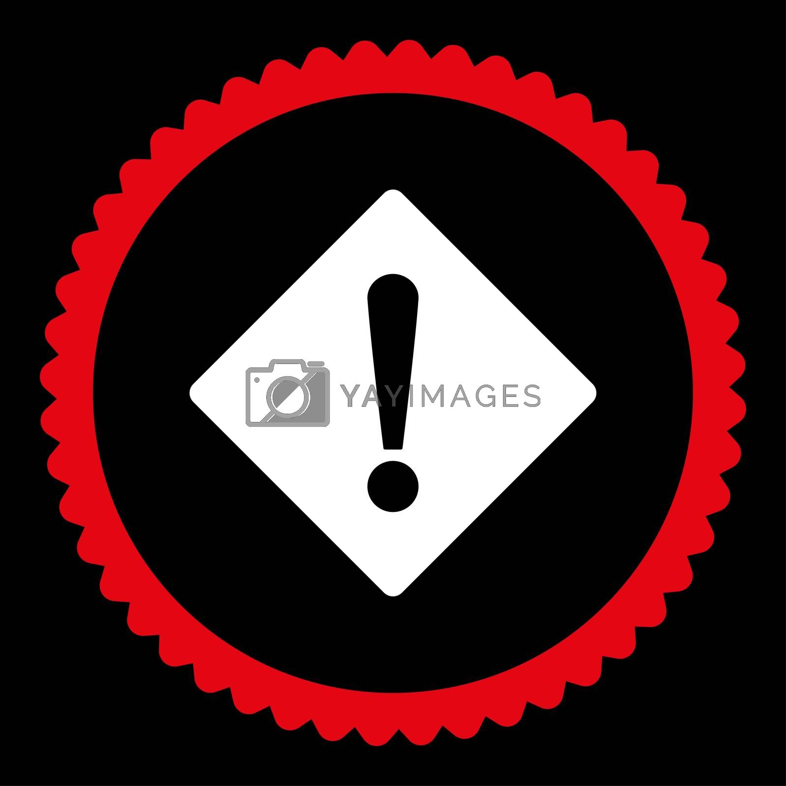Error flat red and white colors round stamp icon by Aha-Soft