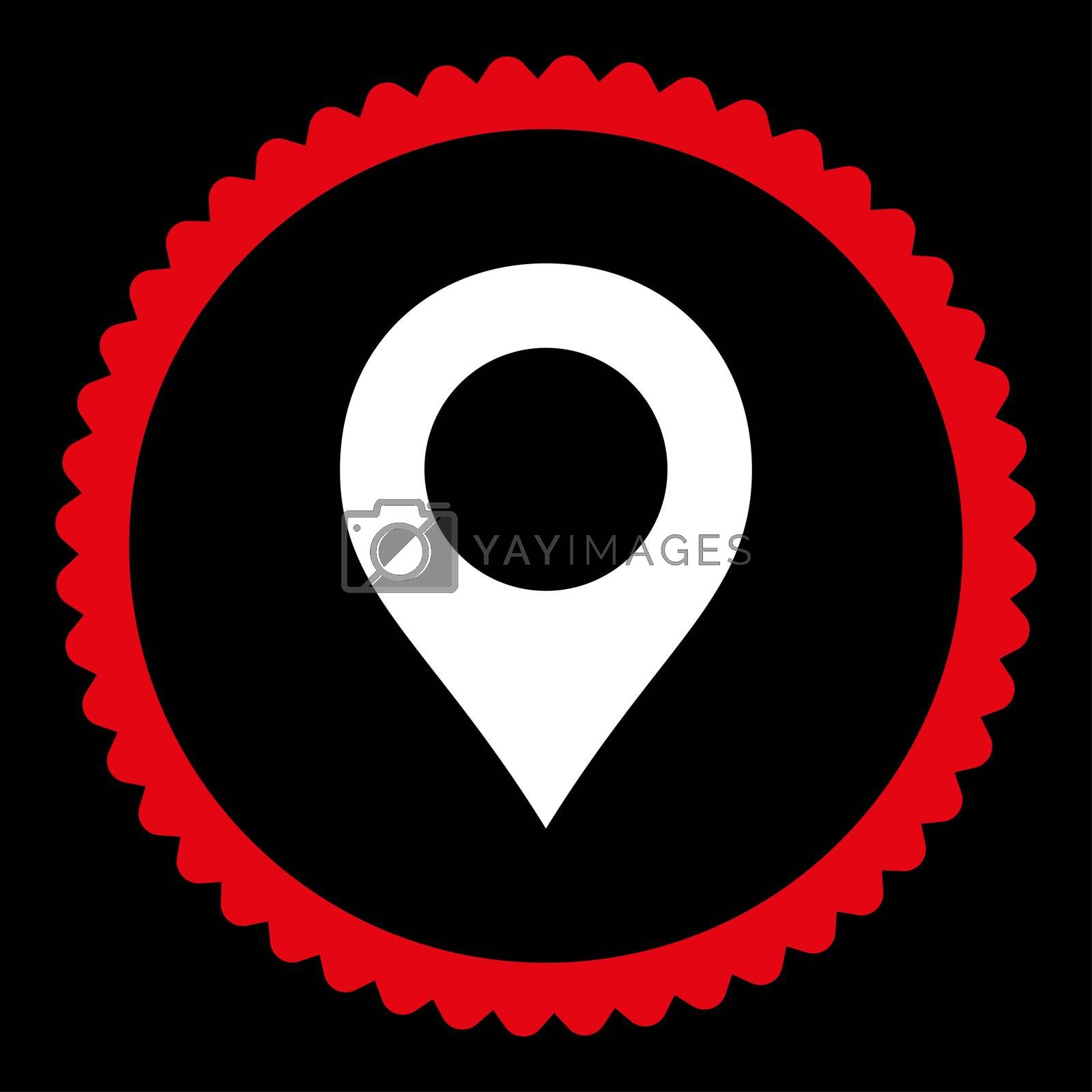 Map Marker flat red and white colors round stamp icon by Aha-Soft