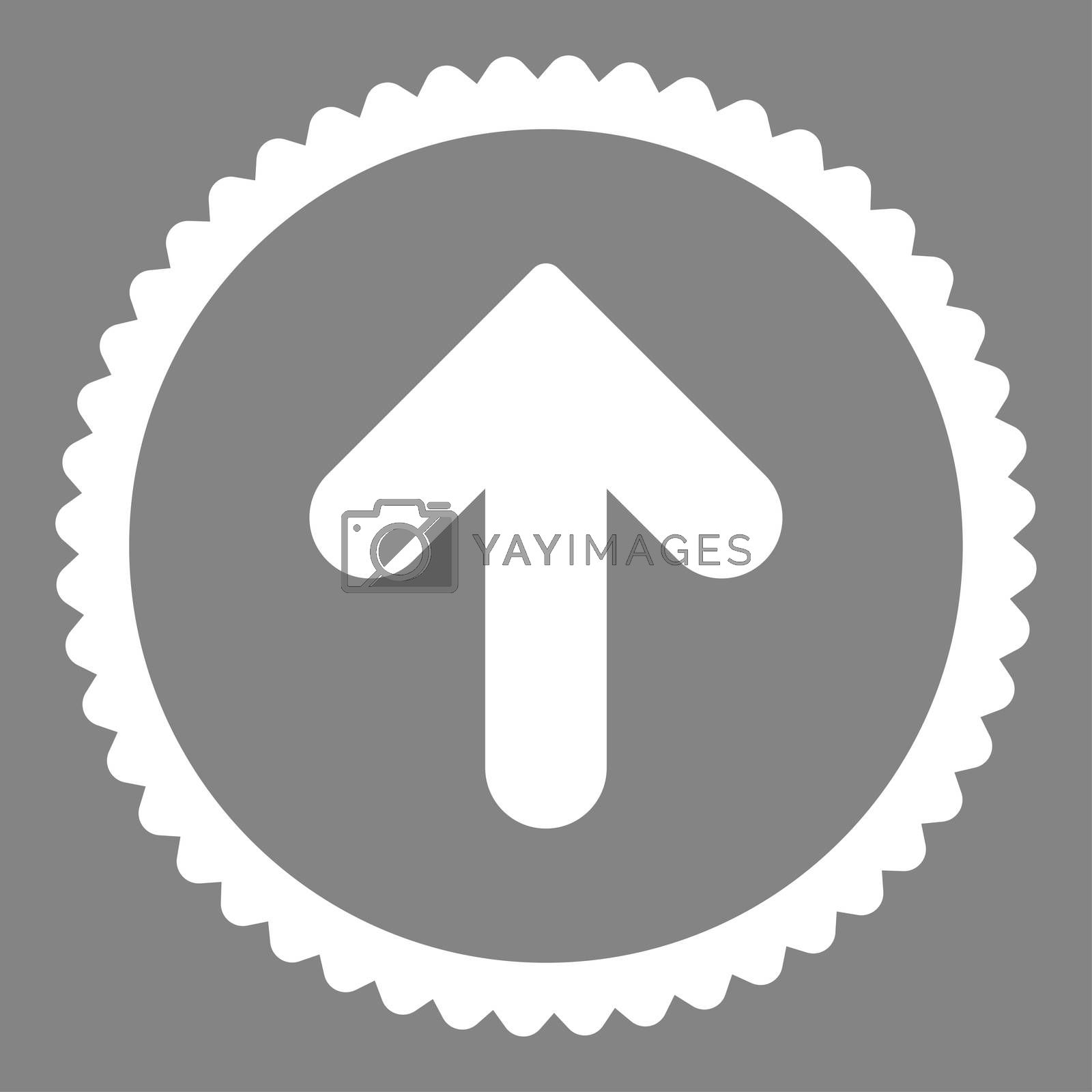 Arrow Up flat white color round stamp icon by Aha-Soft