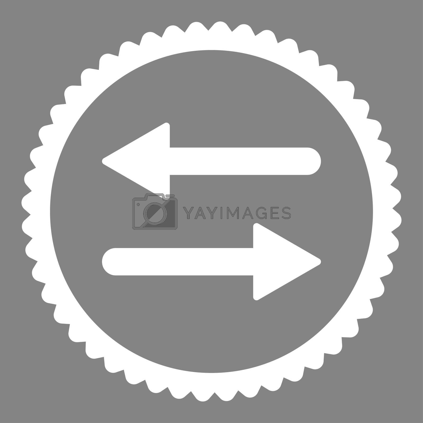 Arrows Exchange flat white color round stamp icon by Aha-Soft