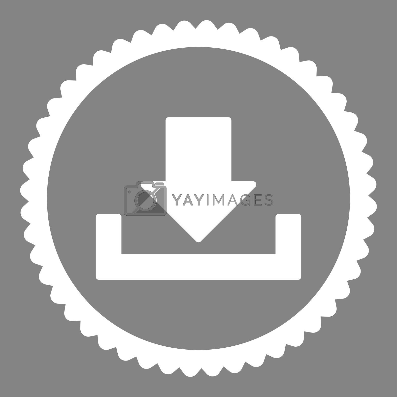 Download flat white color round stamp icon by Aha-Soft