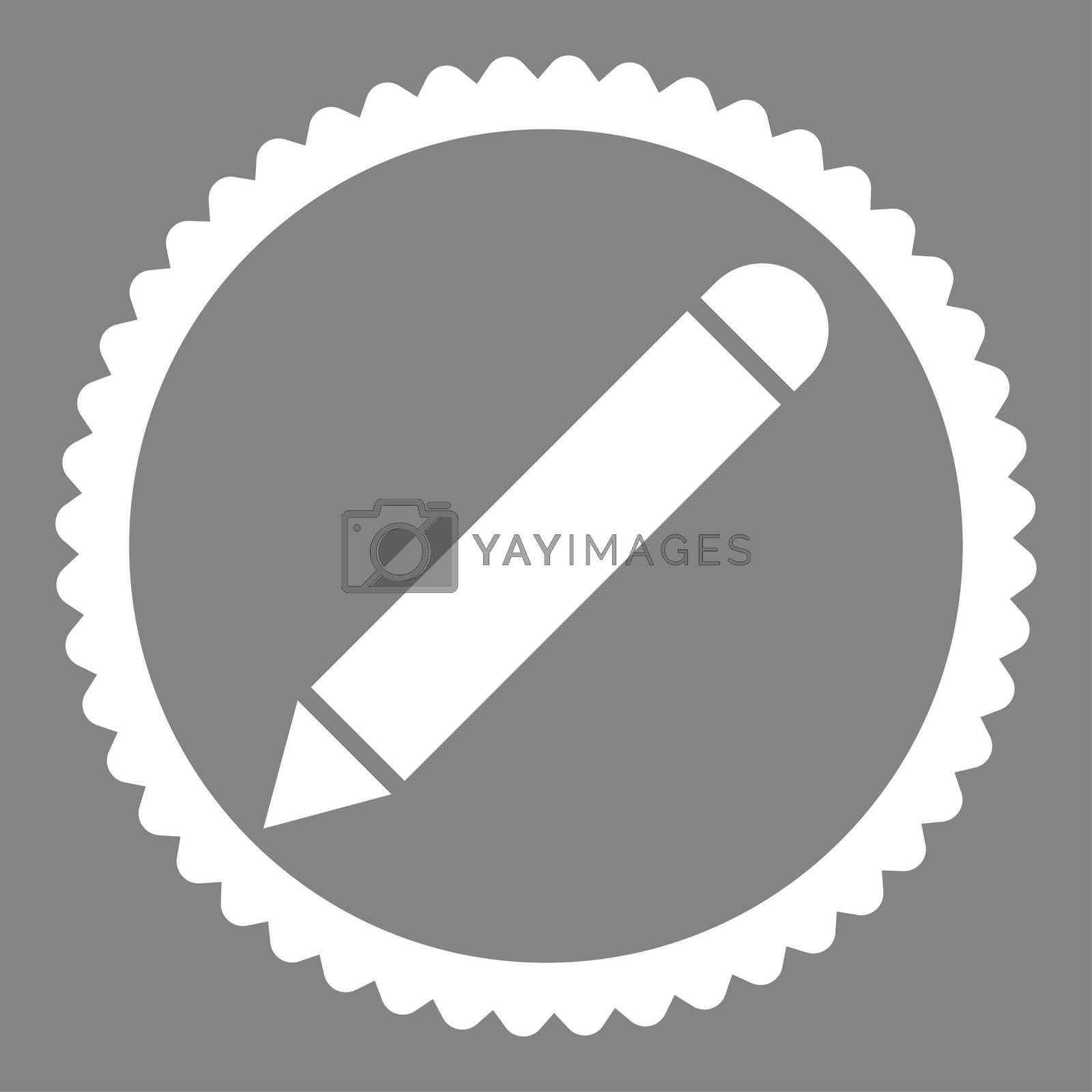 Pencil flat white color round stamp icon by Aha-Soft