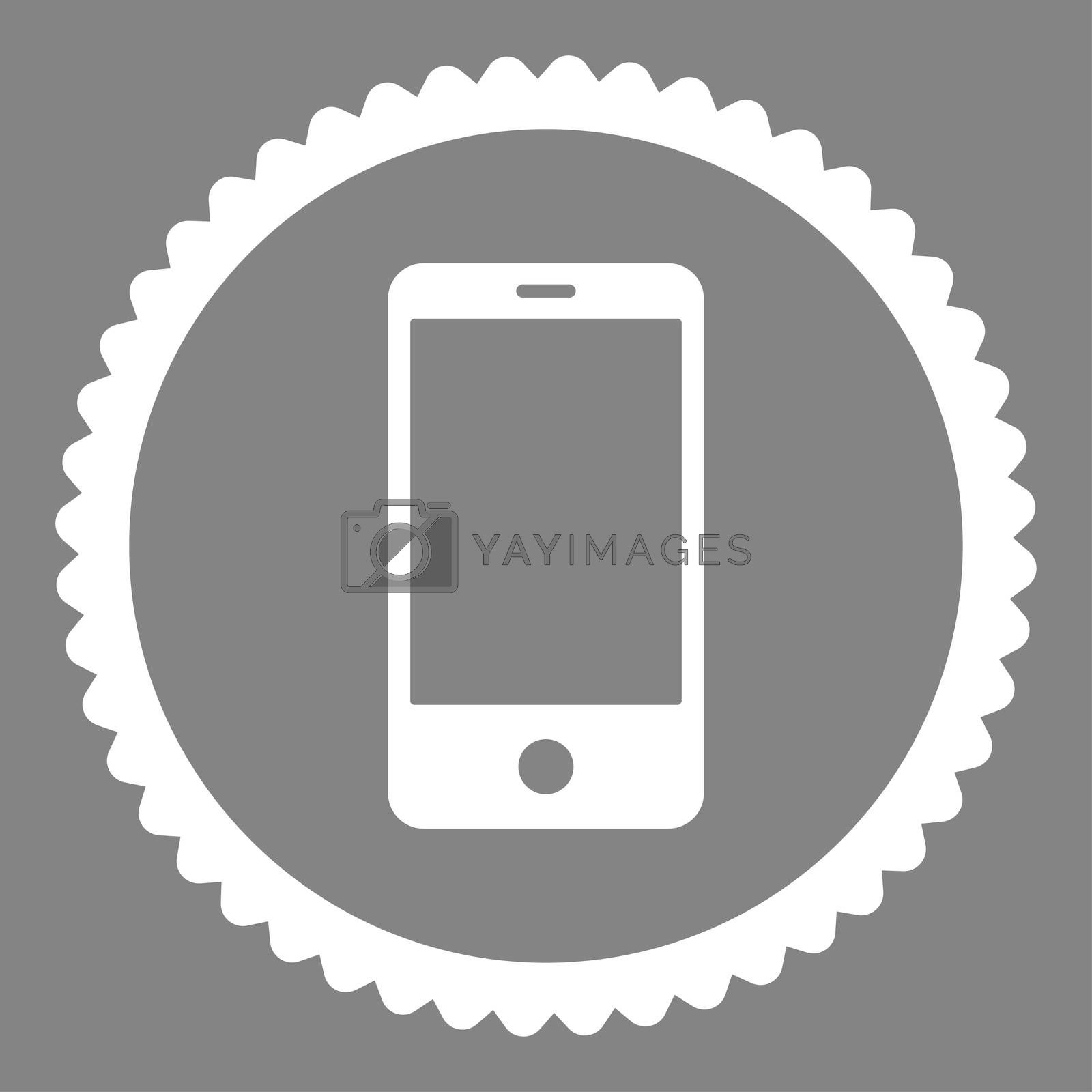 Smartphone flat white color round stamp icon by Aha-Soft