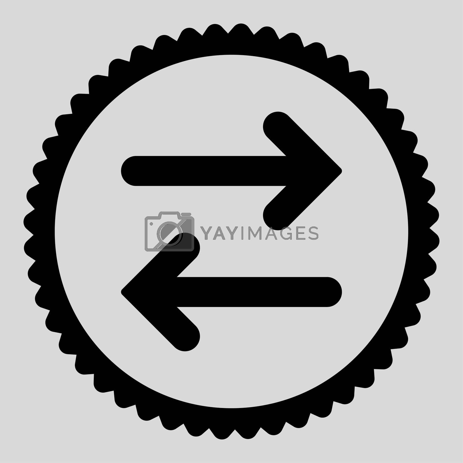 Flip Horizontal flat black color round stamp icon by Aha-Soft