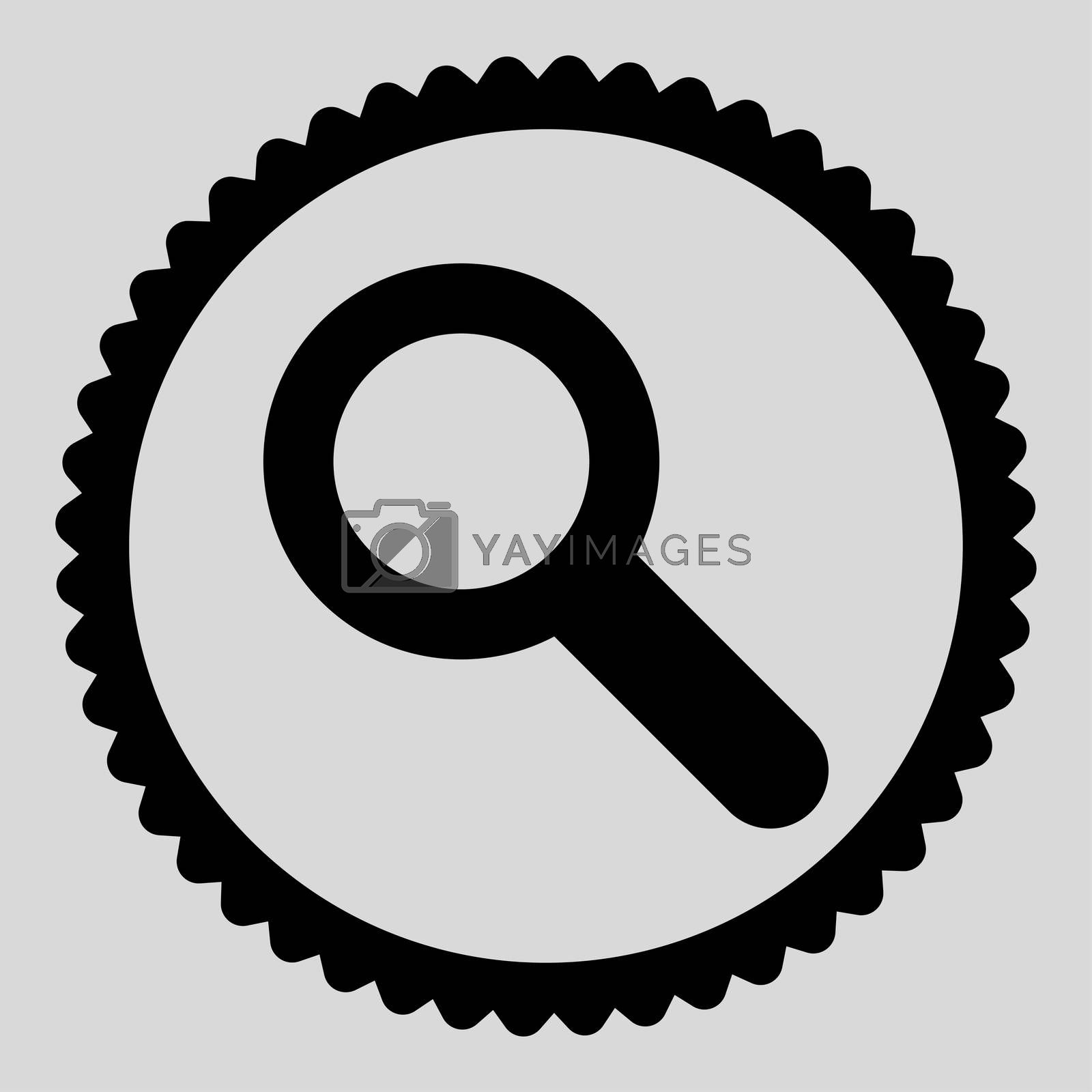 Search flat black color round stamp icon by Aha-Soft