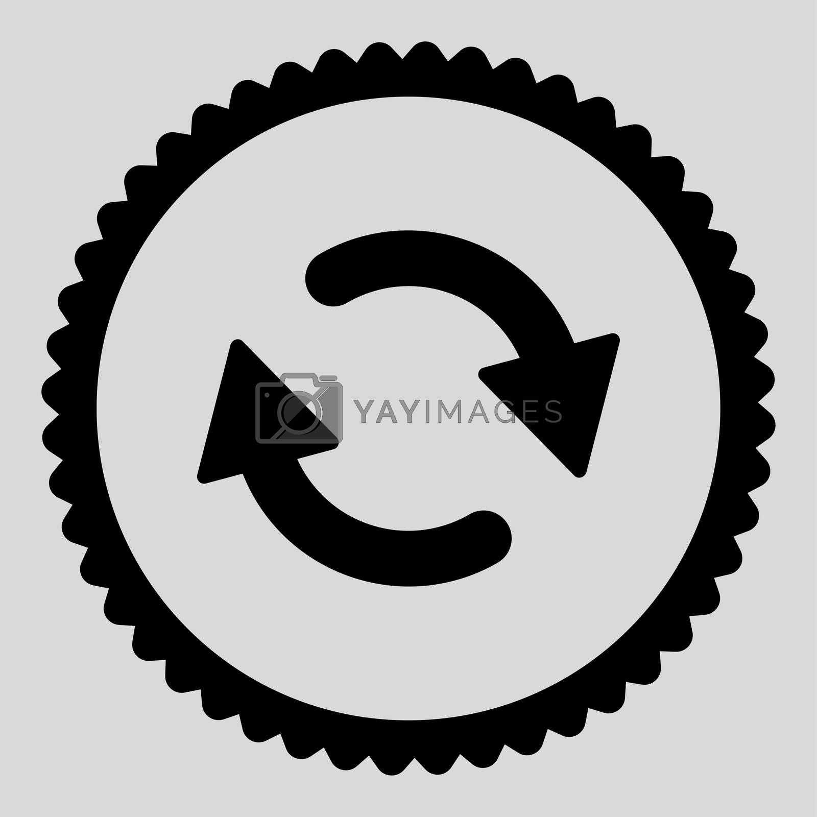 Refresh flat black color round stamp icon by Aha-Soft