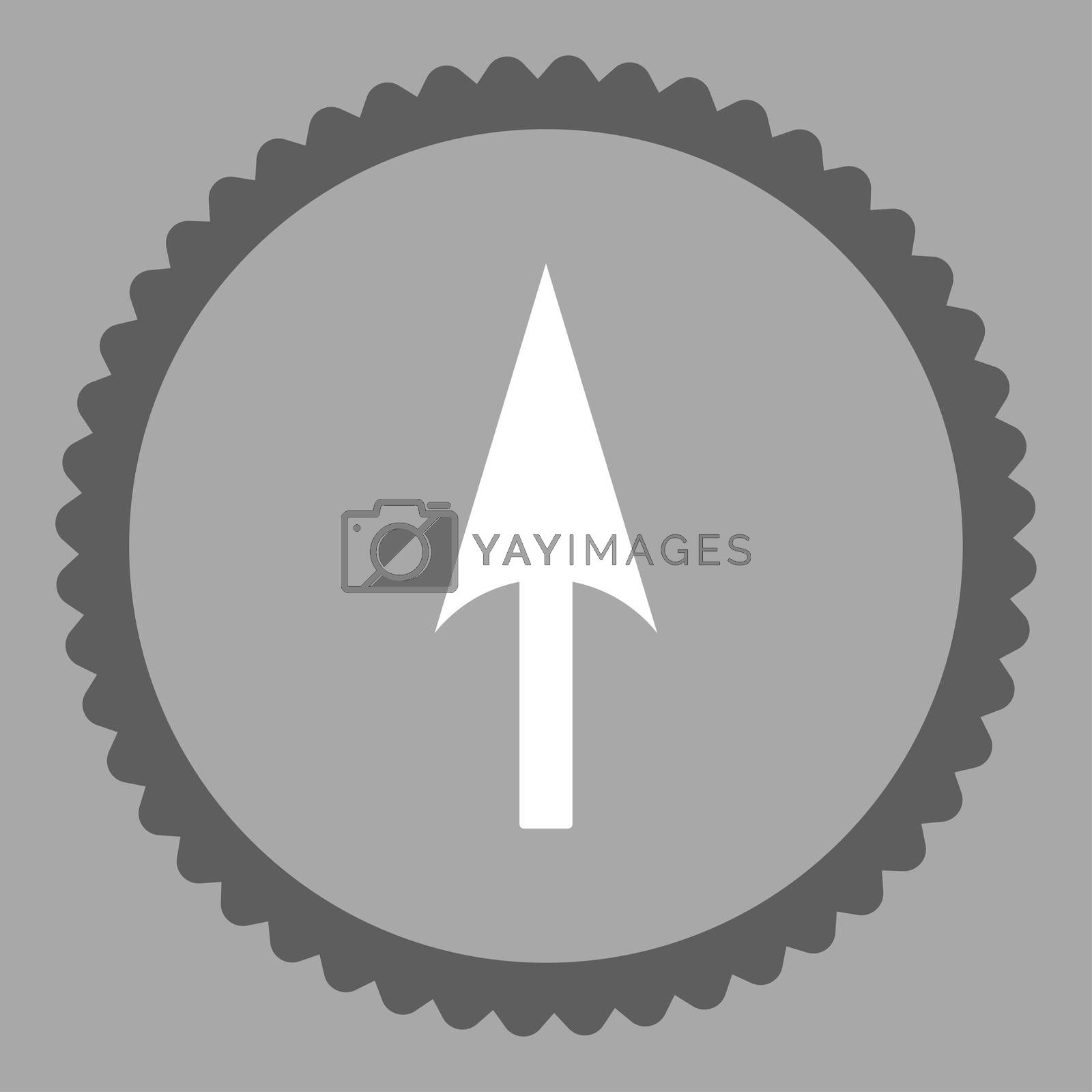 Arrow Axis Y flat dark gray and white colors round stamp icon by Aha-Soft